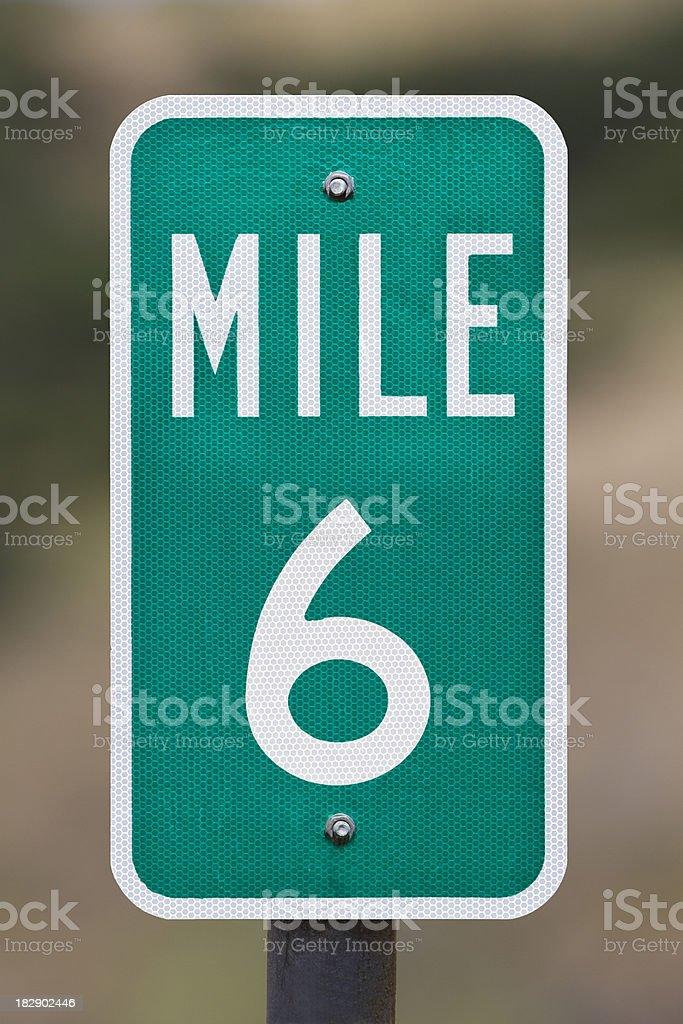 Six Mile Marker stock photo