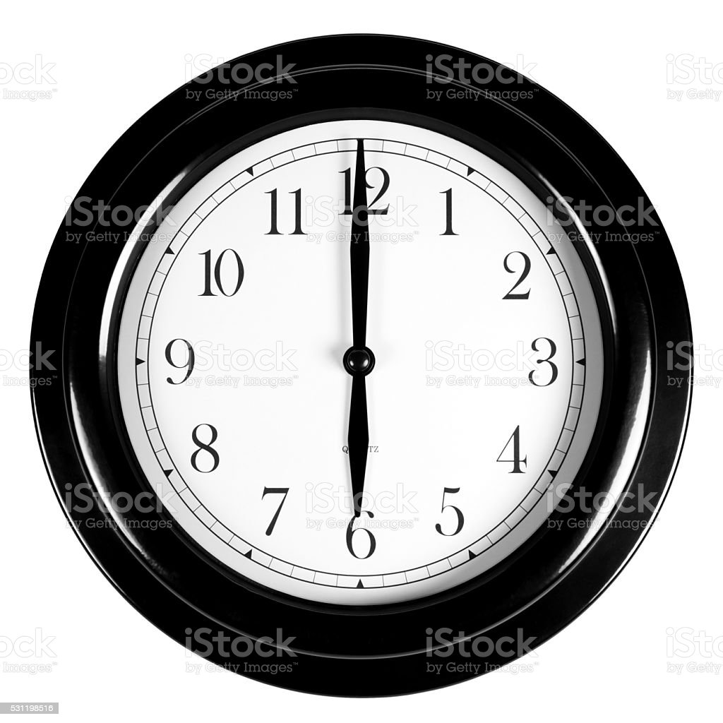Six o'clock on the black wall clock stock photo
