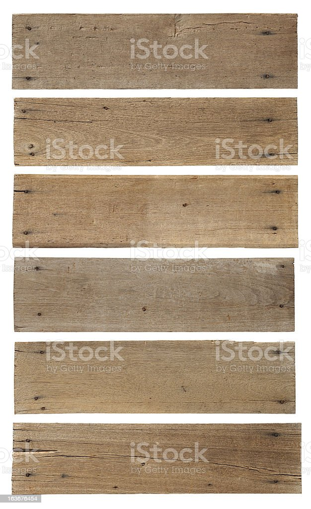 Six old weathered wood boards. stock photo