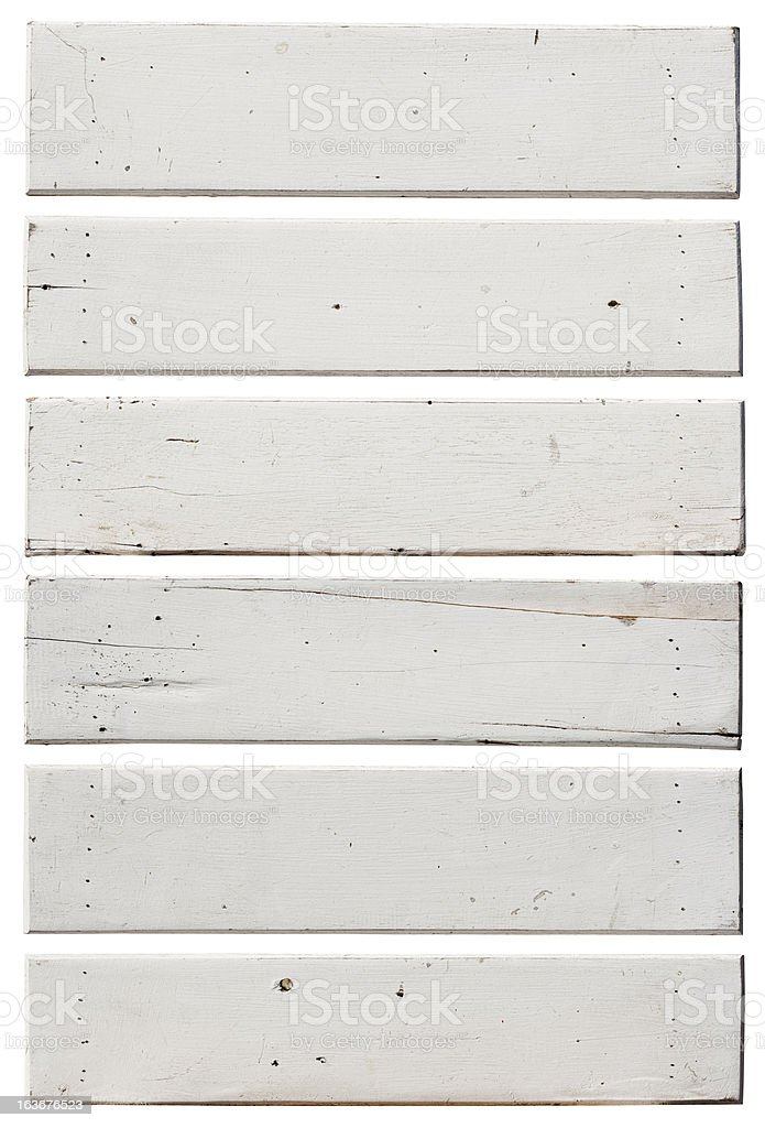 Six old white weathered wood boards. royalty-free stock photo