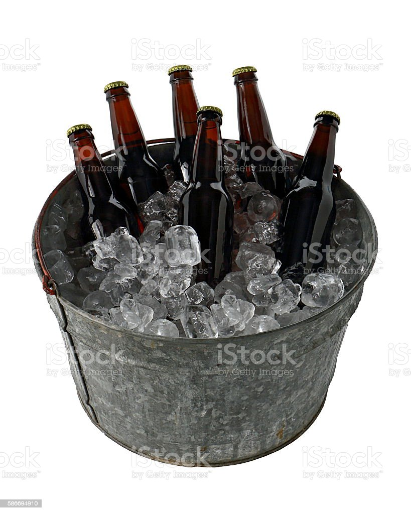 Six Pack of Beer in Ice Bucket stock photo