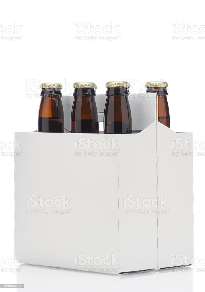 Six pack of brown beer bottles stock photo