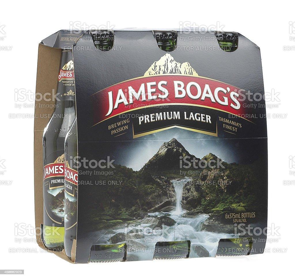 Six pack of James Boag's Premium Lager beer bottles stock photo