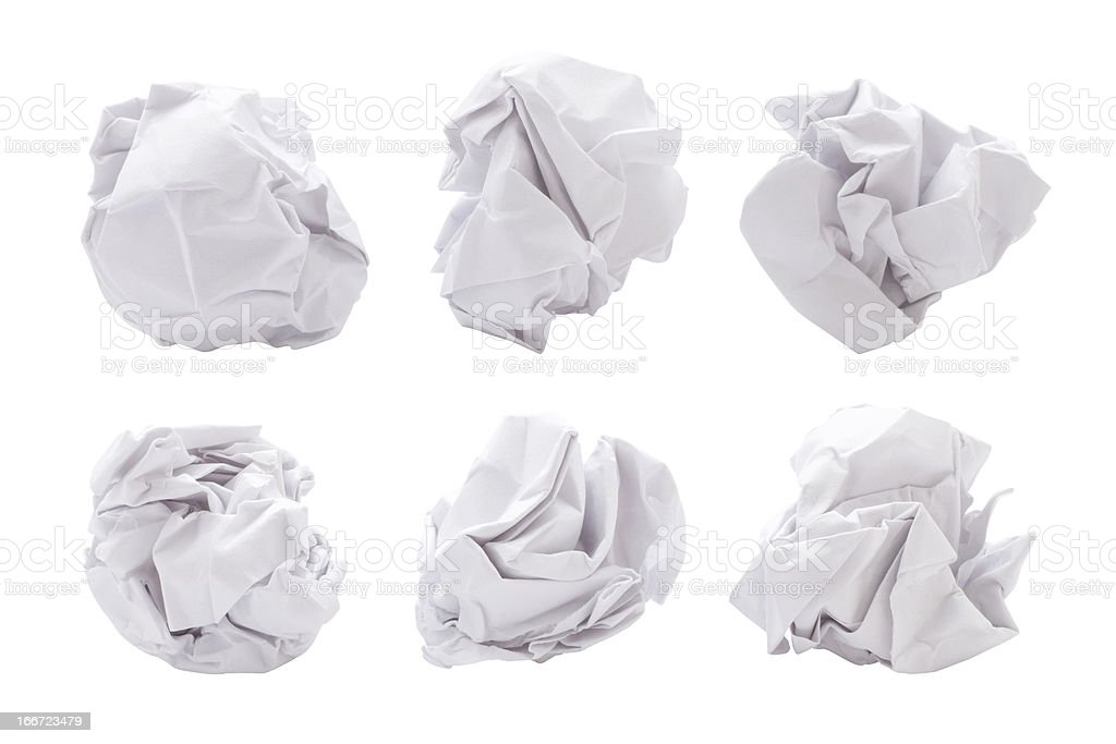 Six paper balls on a white background stock photo