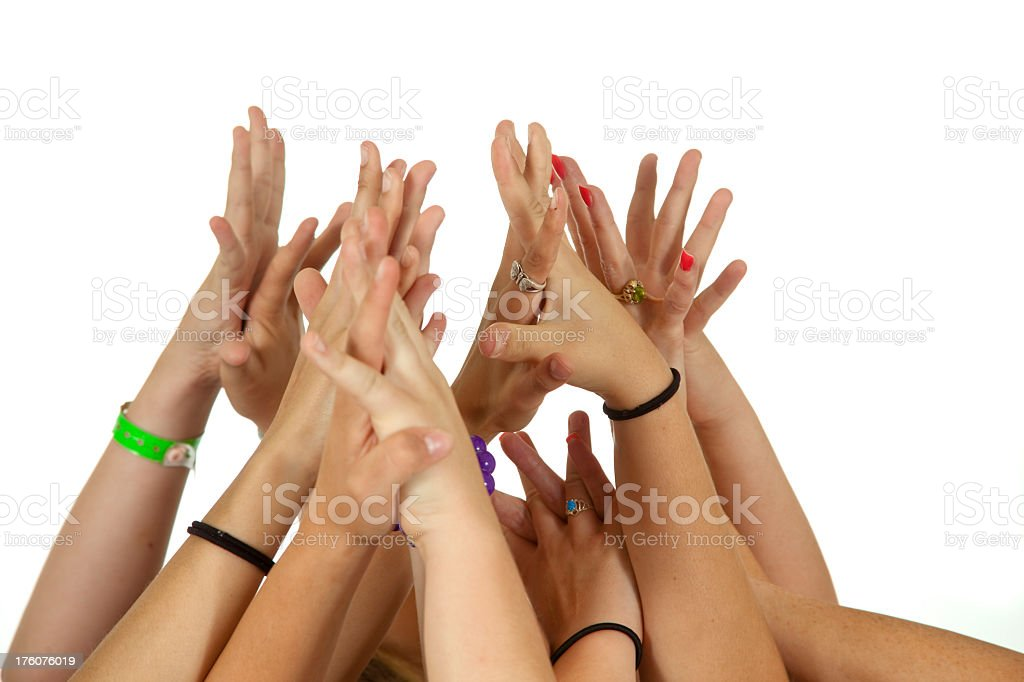 Six people's Hands raised holding joining togetherness volunteer voting royalty-free stock photo