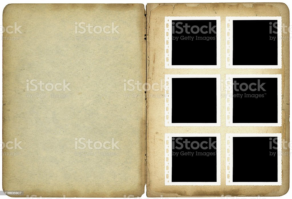 Six photos in old photo album royalty-free stock photo