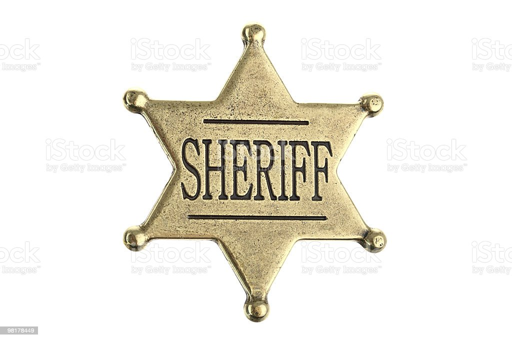 Six point sheriff star badge isolated on white stock photo