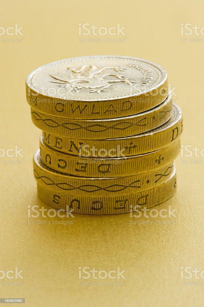 Six pound coins royalty-free stock photo