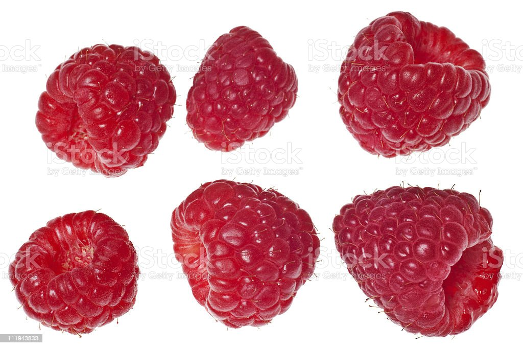 Six raspberries isolated on white background stock photo