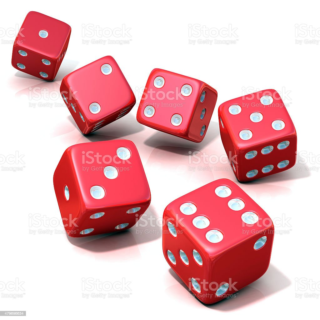 Six red game dices stock photo