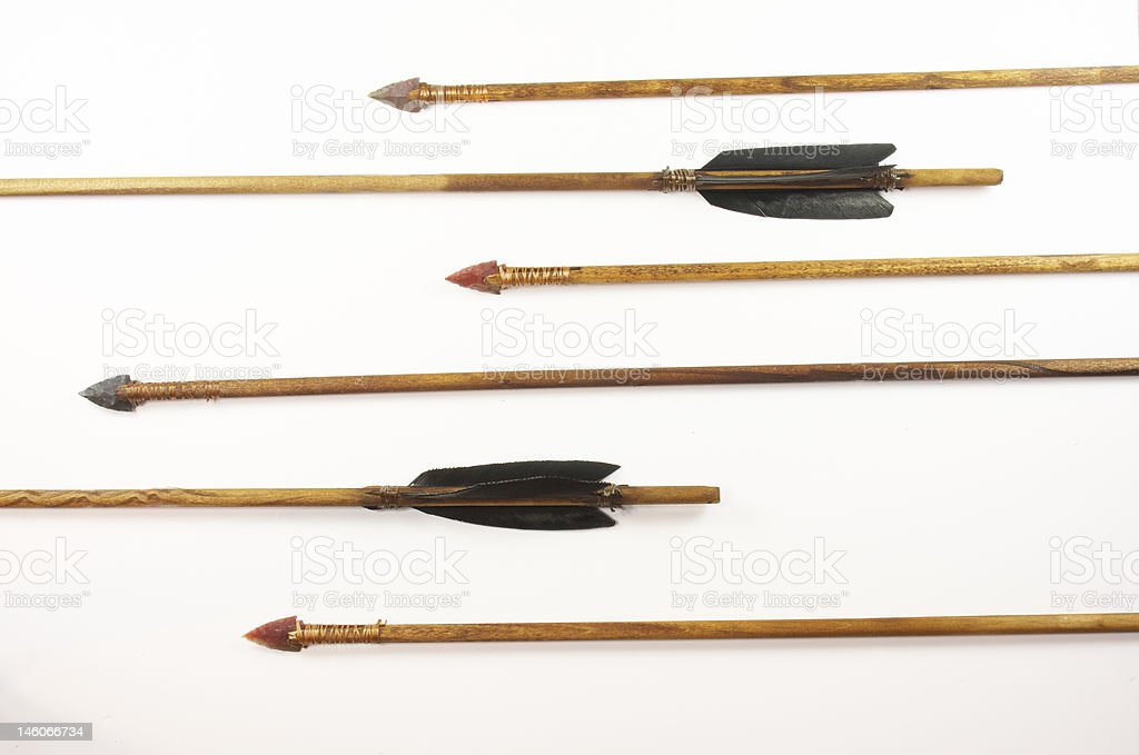 Six replica hand made Native American hunting arrows stock photo