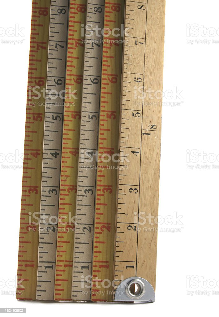 Six Rulers Measuring Eight Inches stock photo