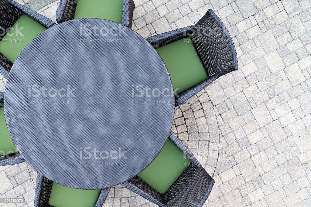 Six seater outdoor patio set stock photo