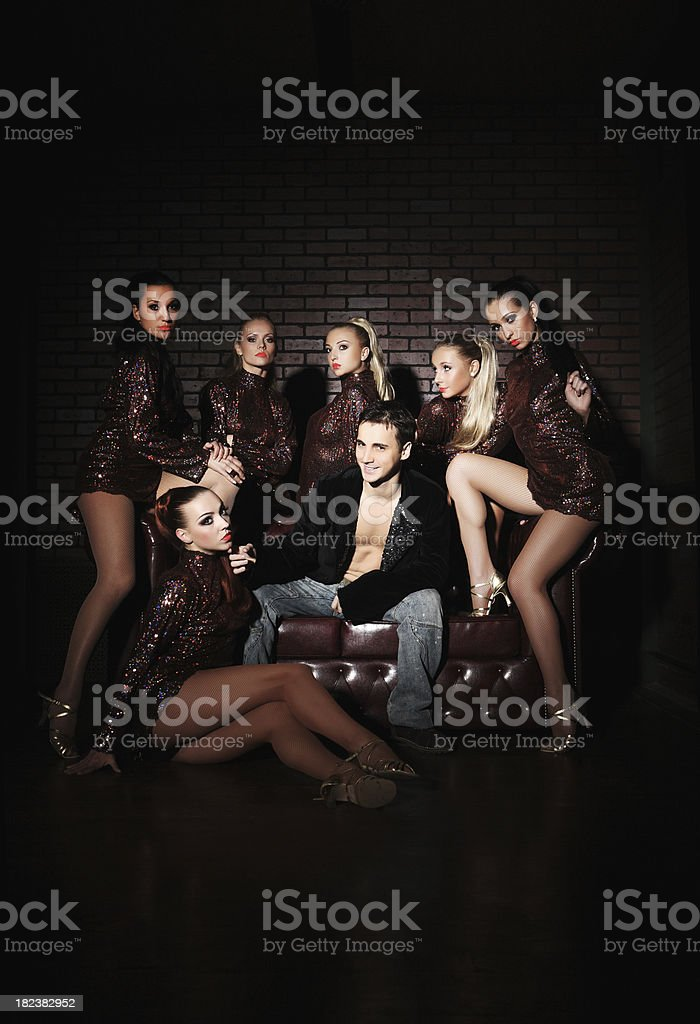 six sexual girls even one man royalty-free stock photo