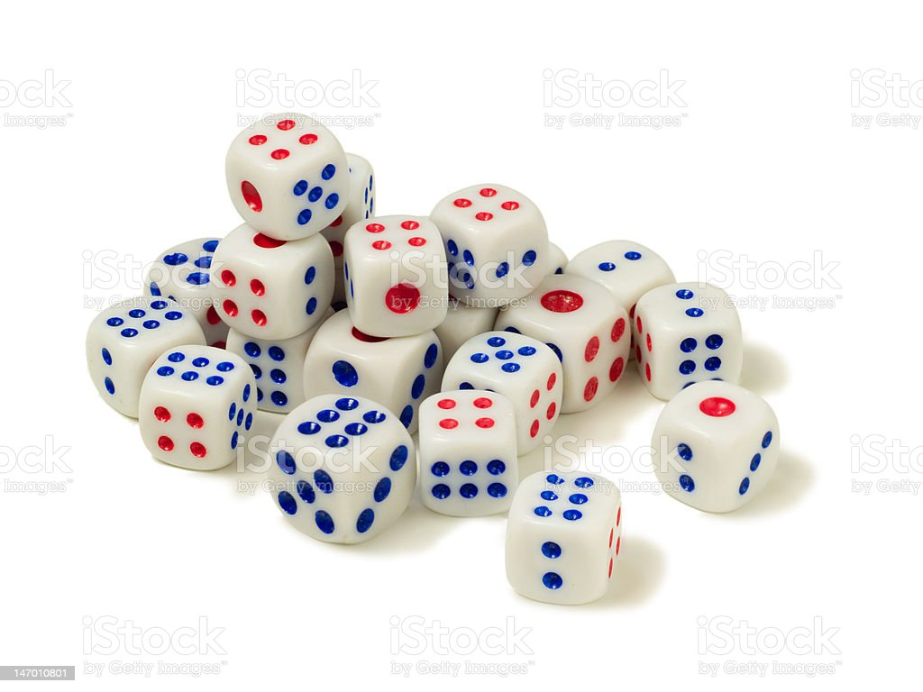 Six sided chinese dice stock photo