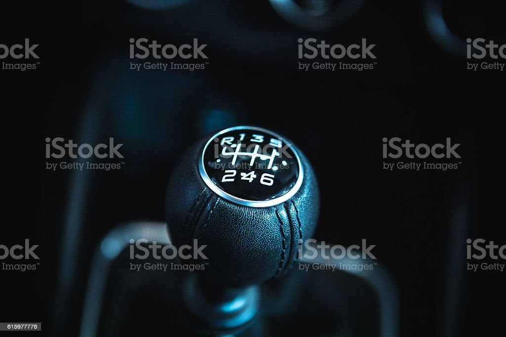 Six speed manual gear shift stock photo
