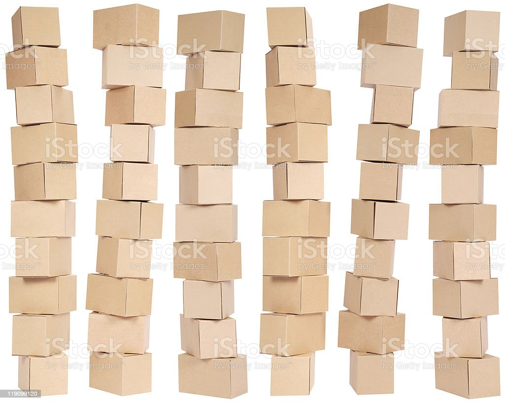 Six stacked  cardboard boxes stock photo