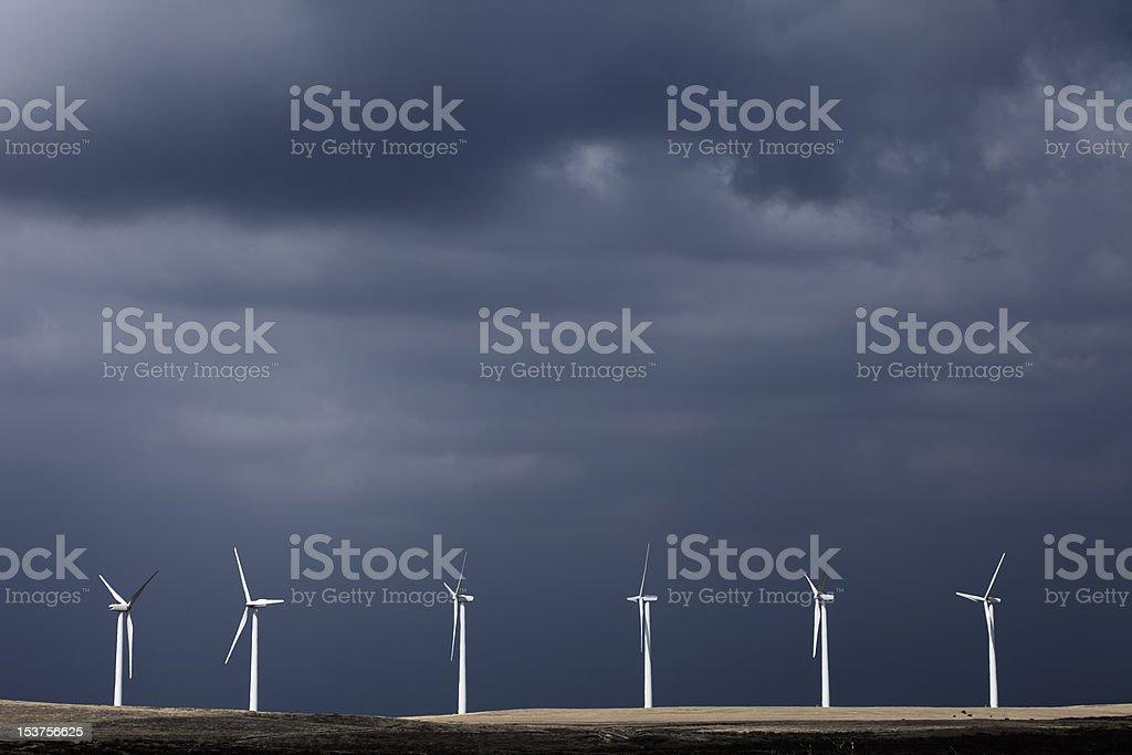 six still wind turbines stock photo