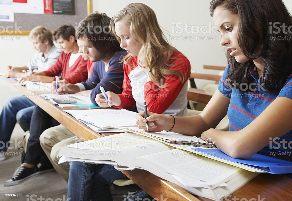 Six students in a classroom royalty-free stock photo