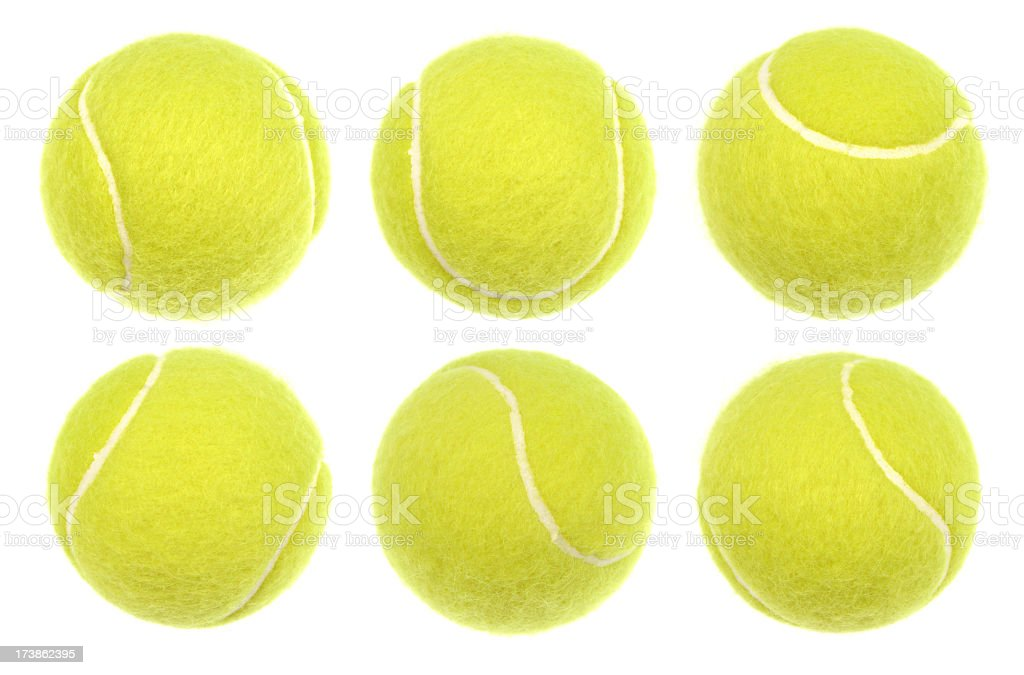 Six tennis balls isolated on a white background stock photo