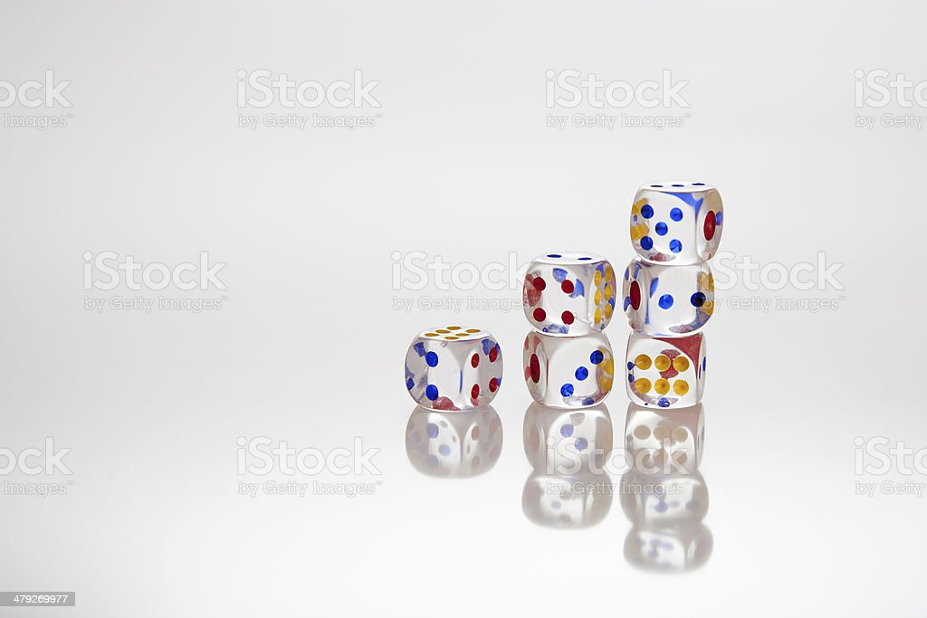 six transparent dices stock photo
