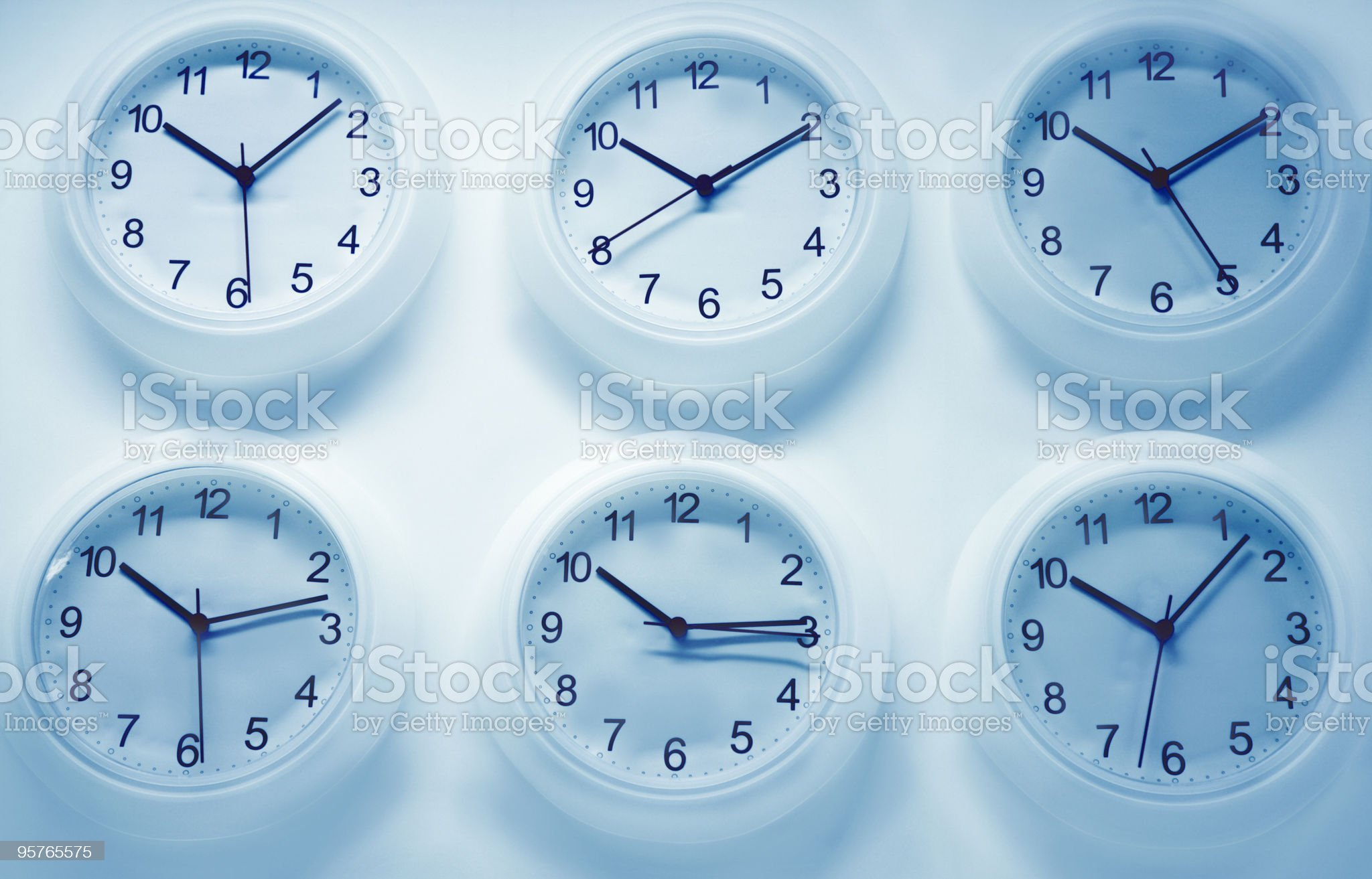 Six Wall clocks royalty-free stock photo