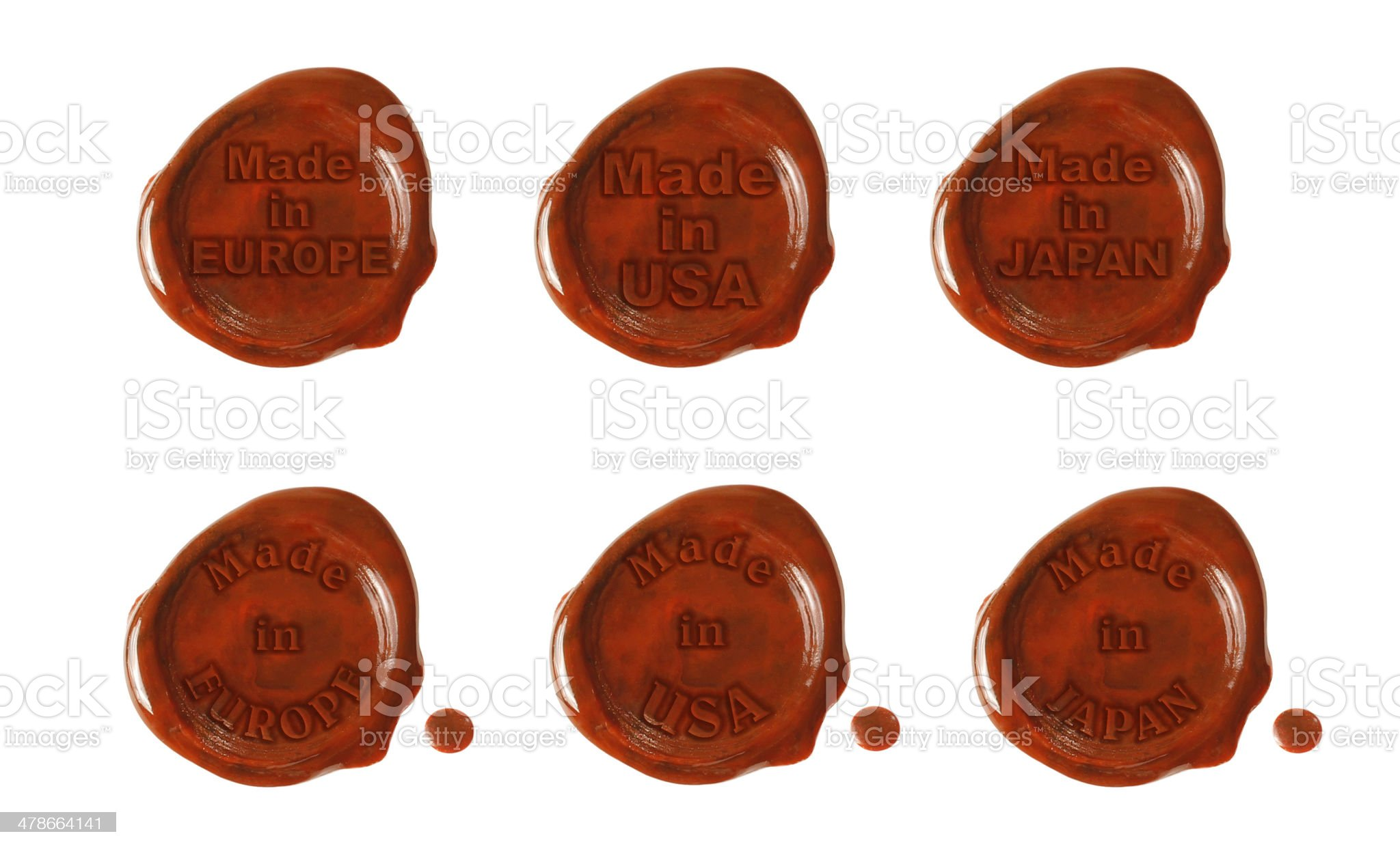 Six wax seals with text royalty-free stock photo