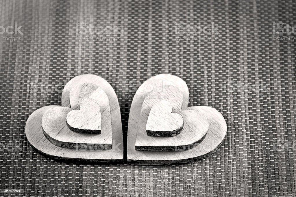 Six White Heart Shapes stock photo