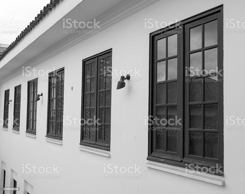 Six windows and reflexions stock photo