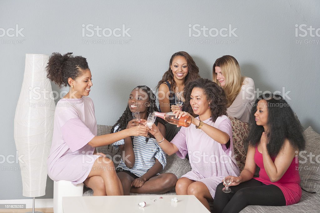 Six Women Drinking Champagne Together royalty-free stock photo