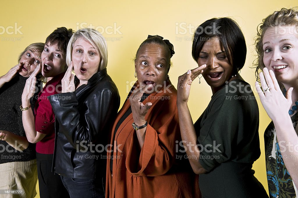Six Women Passing a Gossip royalty-free stock photo