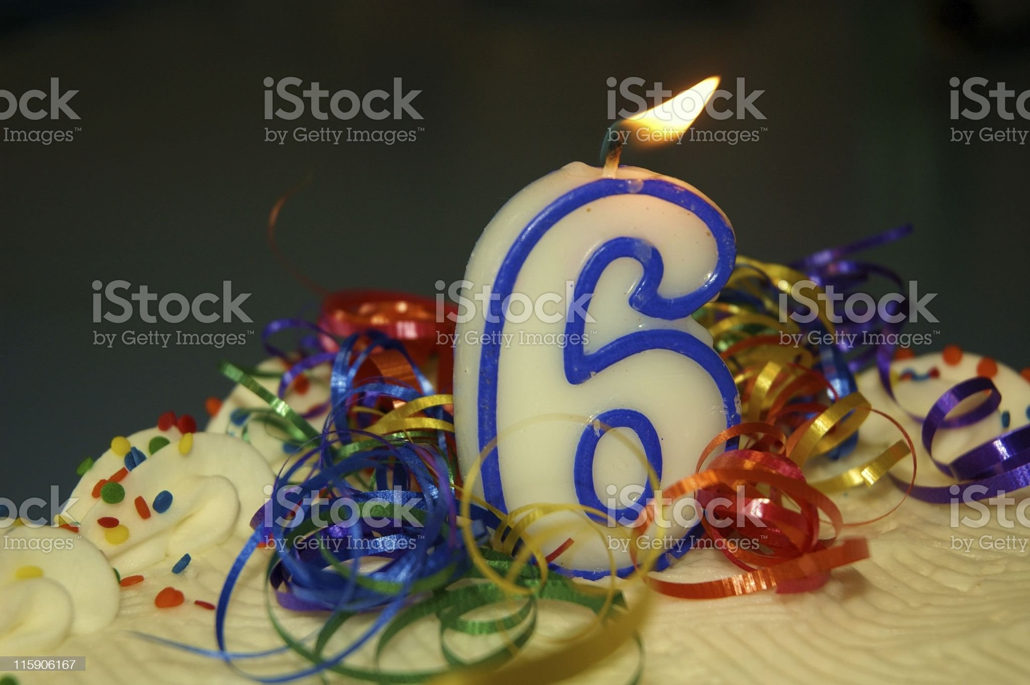 Six Year Birthday Cake royalty-free stock photo