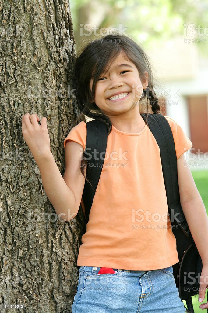 Six years old girl ready for first day of school royalty-free stock photo