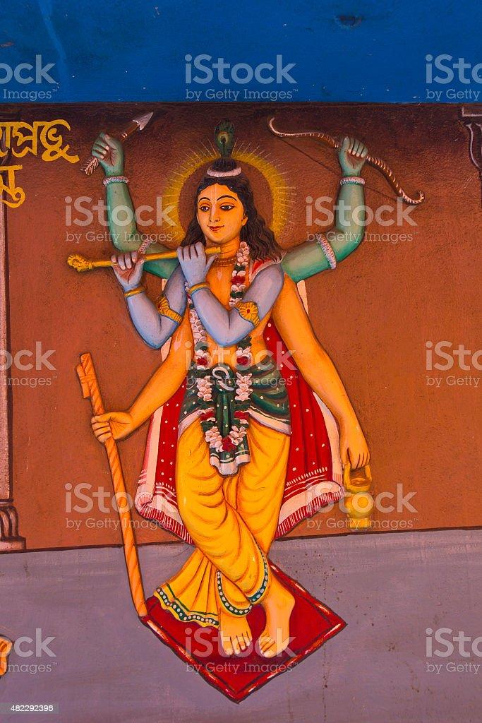 Six-handed Lord Chaitanya stock photo