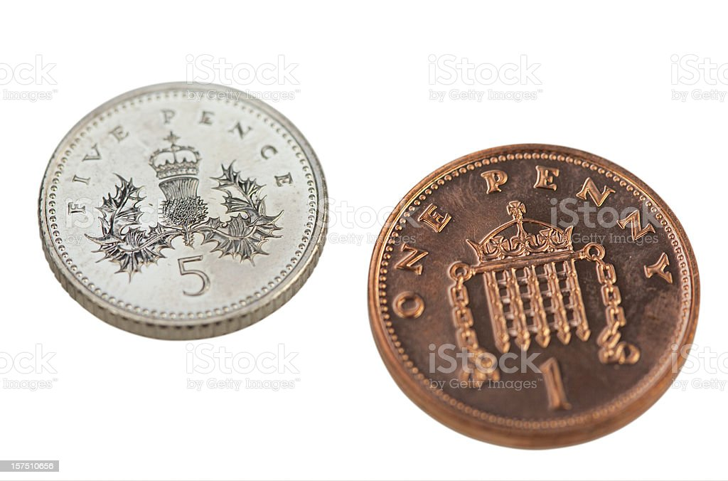 Sixpence In British Coins stock photo