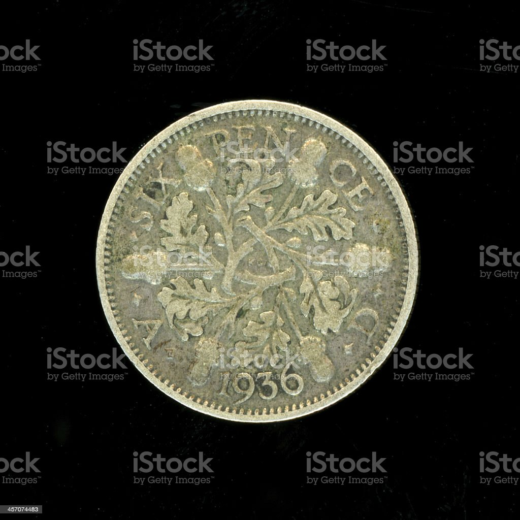 1936 Sixpence Silver Coin stock photo