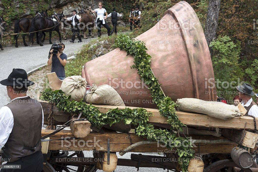 Sixteen Horses Taking Church Bell to Sveta Gora Slovenia Europe stock photo
