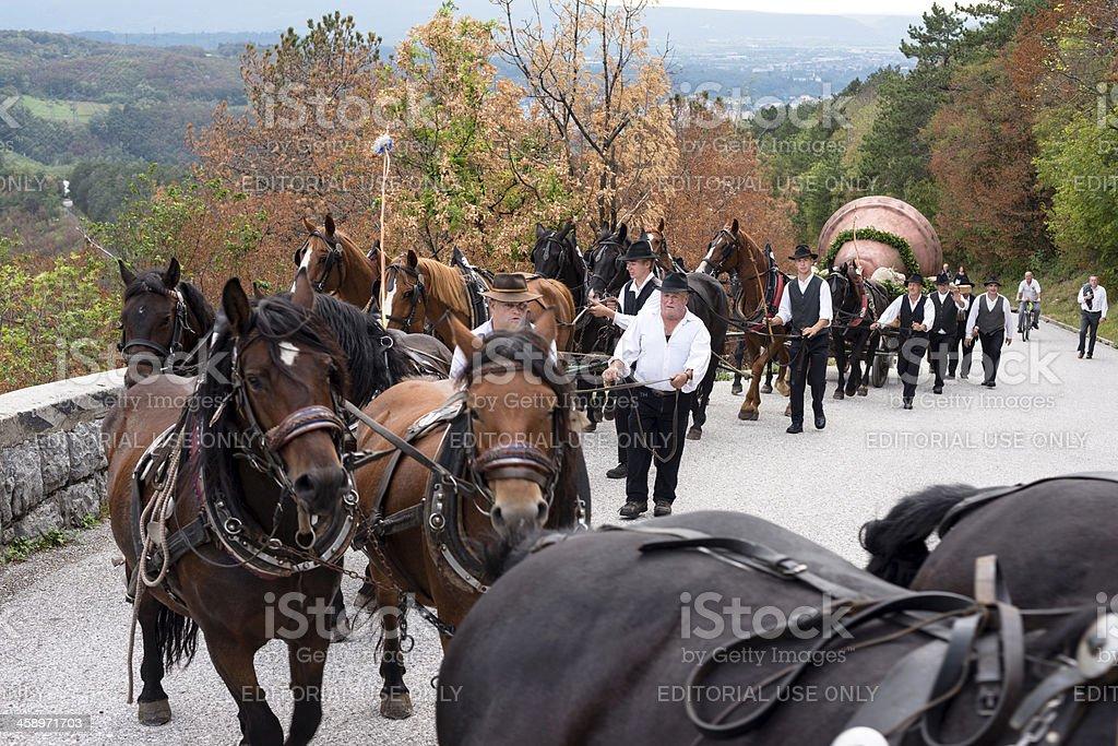 Sixteen Horses Taking Church to Sveta Gora Slovenia Europe stock photo