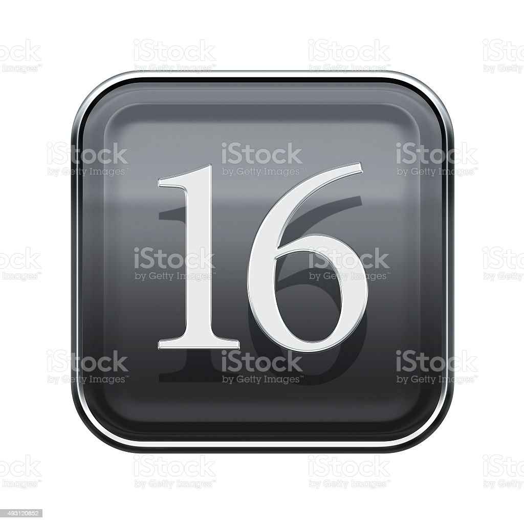 Sixteen icon grey glossy, isolated on white background stock photo