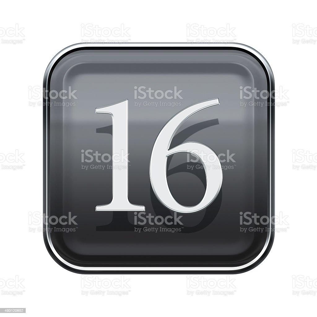 Sixteen icon grey glossy, isolated on white background stock photo