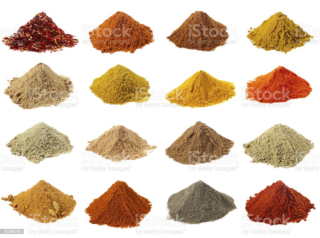 sixteen piles of Indian powder spices with its names royalty-free stock photo