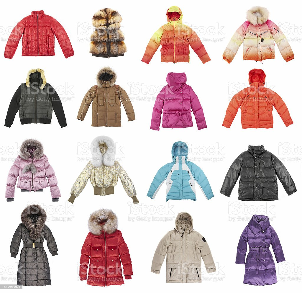 Sixteen winter jackets stock photo
