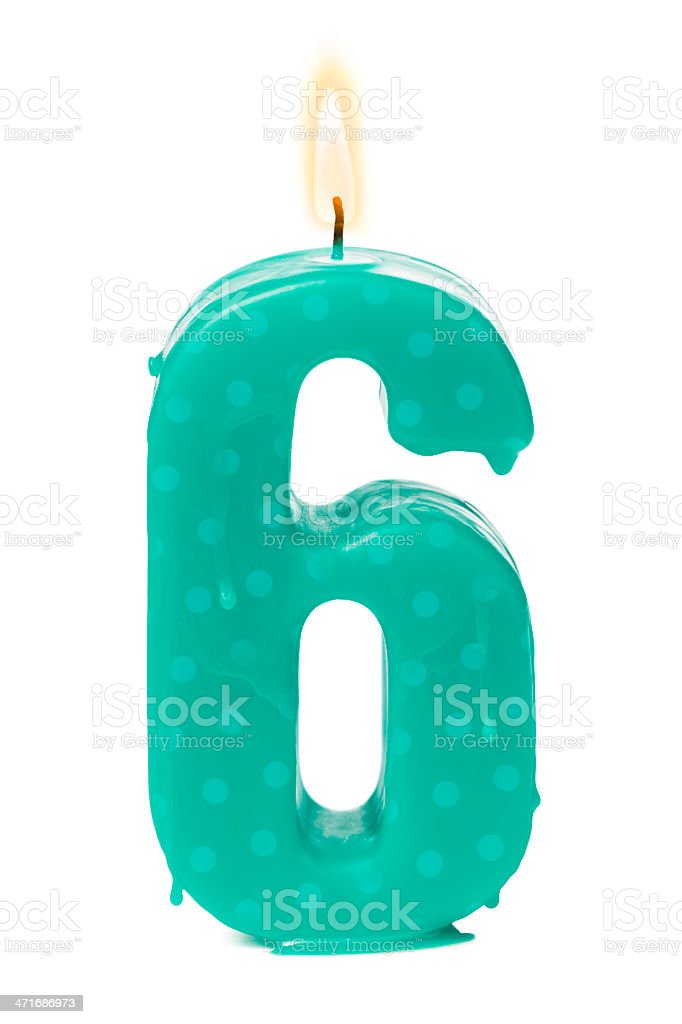 Sixth 6th birthday or anniversary candle stock photo
