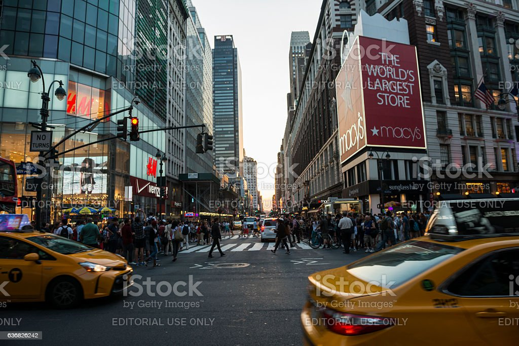 Sixth Avenue and Macy's departments store in Manhattan, New York stock photo