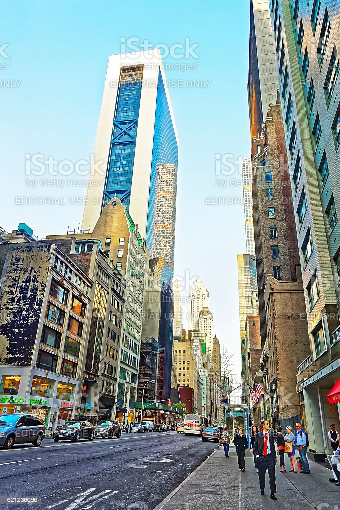 Sixth Avenue and West 57th Street of Midtown Manhattan stock photo