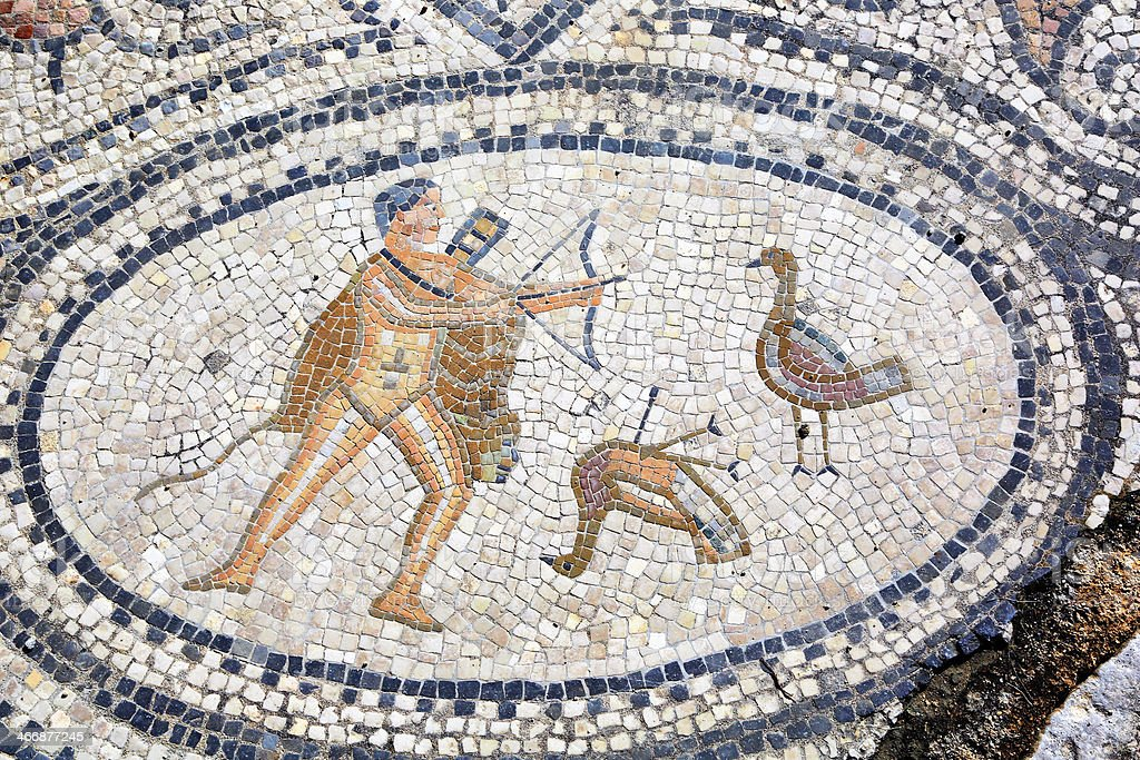 Sixth Labour of Hercules, mosaic in Volubilis, Morocco stock photo