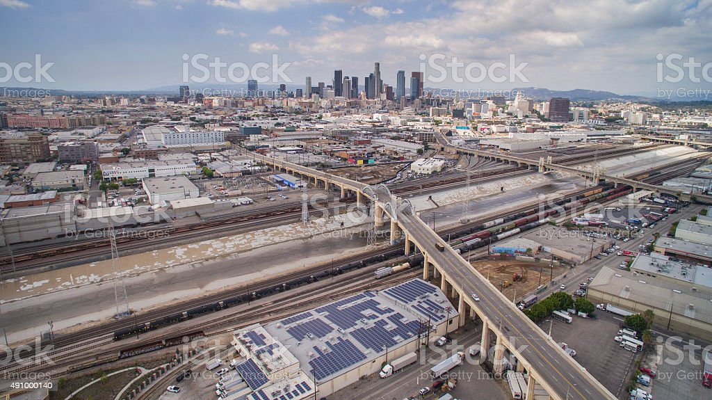 Sixth Street Bridge Snaking Into Downtown Los Angeles stock photo