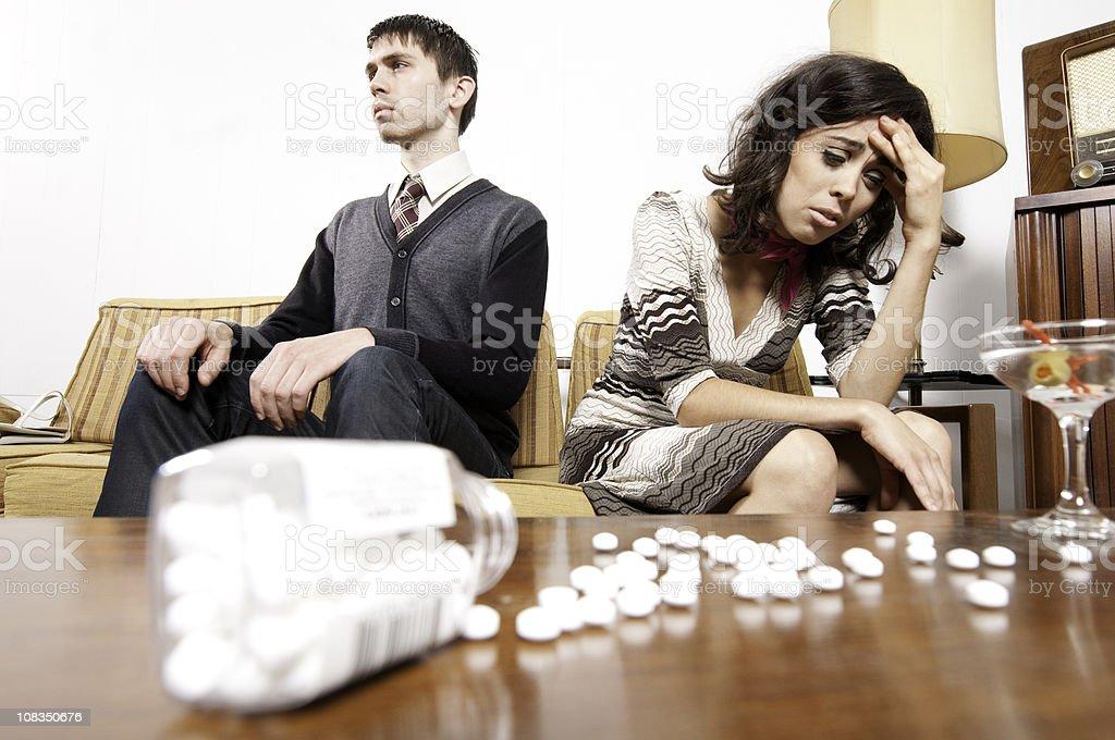 Sixties Couple: Drug Addiction royalty-free stock photo