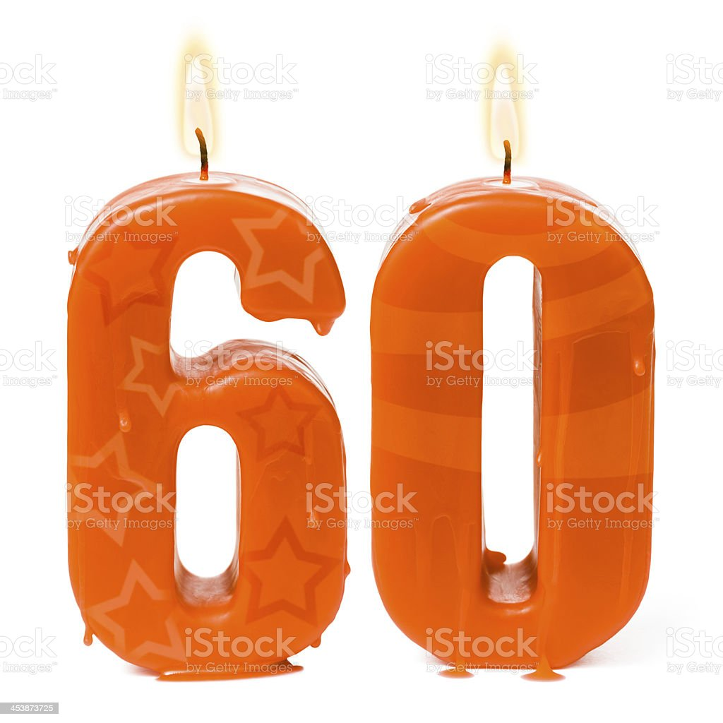 Sixtieth 60th birthday or anniversary candles stock photo