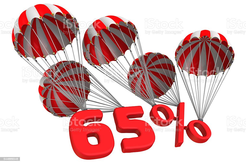 Sixty five percent is flying on parachutes stock photo